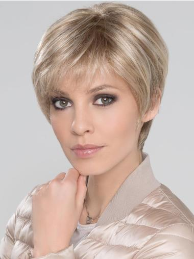 "With Bangs Short Straight Blonde 6"" Synthetic Mono Wigs"