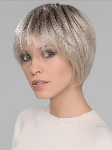 "With Bangs Short Straight Platinum Blonde 6"" Synthetic Mono Wigs"