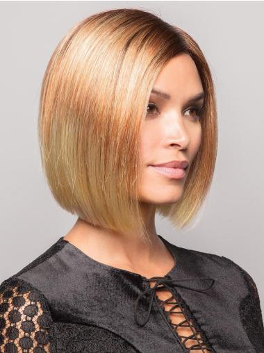 "8"" Chin Length Straight Blonde Synthetic Without Bangs Online 100% Hand-tied Wigs"