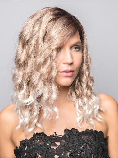 """14"""" Long Curly Blonde Synthetic With Bangs New 100% Hand-tied Wigs"""