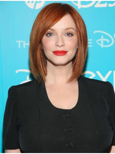 "Trendy Without Bangs Copper Straight Chin Length 12"" Christina Hendricks Wigs"