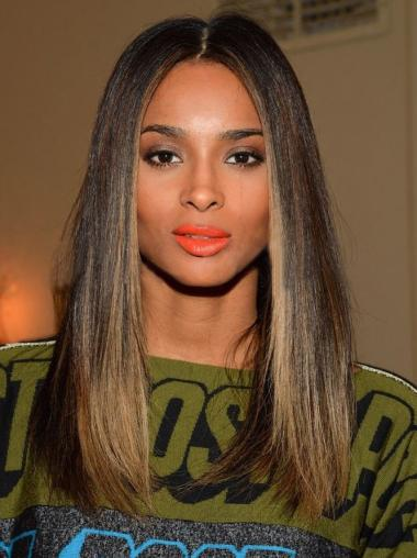 Shoulder Length Straight African American Lace Wigs Without Bangs