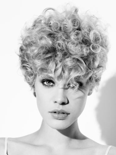 Grey Synthetic Fashion Source Curly Wigs