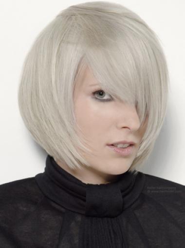 Chin Length Grey 12 Inches Women'S Fashion Wig