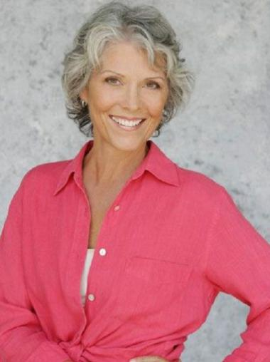 Top Remy Human Hair Capless Short Grey Curly Wig