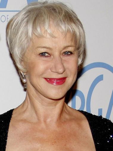 New Capless Short Straight Real Hair Grey Wigs