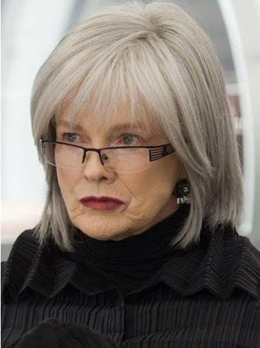12 Inches Straight Length Fashionable Human Grey Hair Wigs