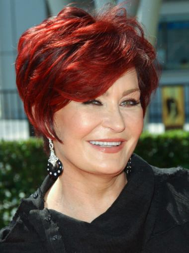 Red 8 Inches Boycuts Wavy Remy Human Hair Wigs For Elderly Ladies
