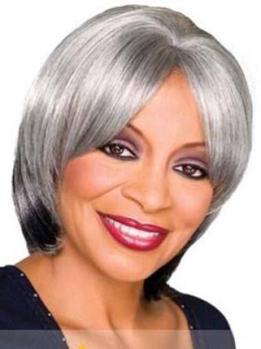 Popular Straight Capless Chin Length Wig For Grey Hair