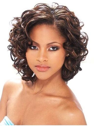 Without Bangs Chin Length Soft African American Curly Wigs