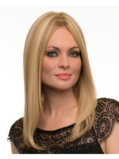 Monofilament Straight Perfect Long Blonde Real Human Hair Wigs
