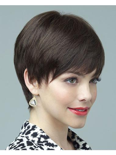 Brown Layered Cheapest Human Hair Short Style Wigs
