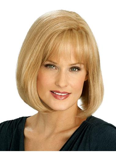 Length Blonde Bobs Fashion Human Hair Bobs Wigs