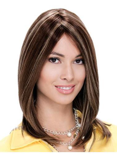 Layered Amazing Shoulder Length Brown Human Hair Wig