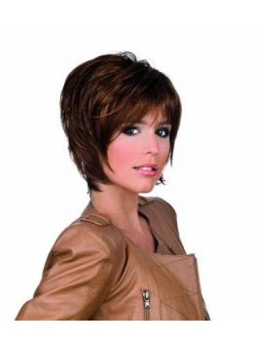 10 Inches Chin Length Layered Straight Sassy Synthetic Lace Front Wigs