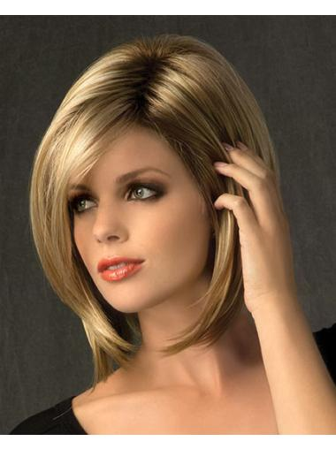 Capless Chin Length 8.5 Inches Synthetic Blonde Straight Hair Wig