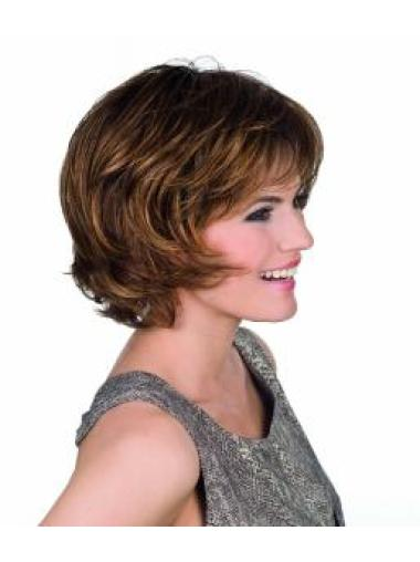 11.5 Inches Capless Brown Chin Length Synthetic Bob Wigs For Sale