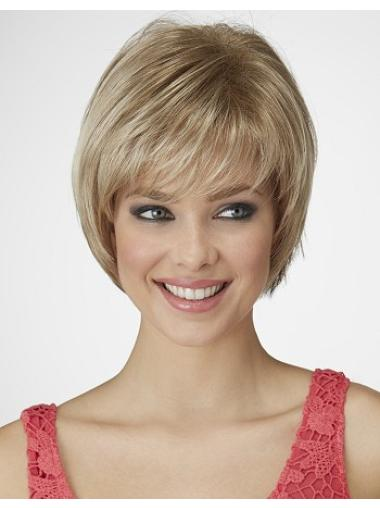 9 Inches Capless Blonde Chin Length Synthetic Cheap Hair Bob Wigs
