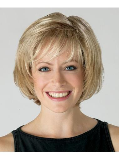 10 Inches Capless Blonde Synthetic Medium Length Bob Wigs