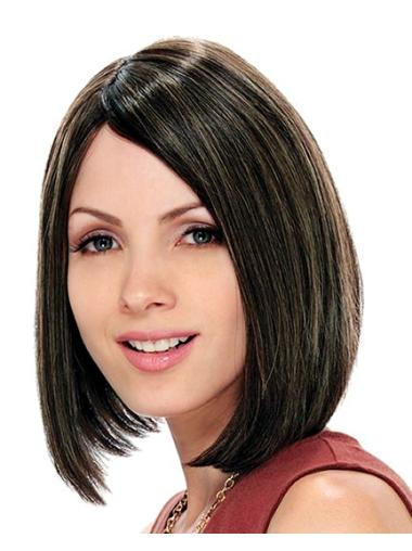 Soft Straight Capless Brown Chin Length Human Hair Bob Wig