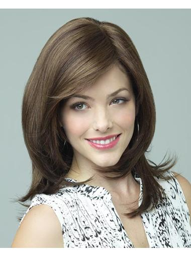 Layered Comfortable Synthetic Medium Length Brown Wigs
