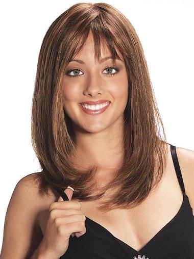 Straight Auburn Layered Stylish Human Hair Wigs For Sale