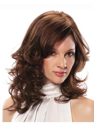 Capless Layered Auburn Medium Length Wigs That Look Real