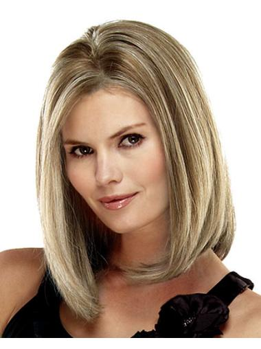 Straight Blonde Bobs Comfortable Low Density Human Hair Wigs