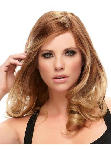 Wavy Auburn Layered Modern Real Human Hair Wigs Lace Front