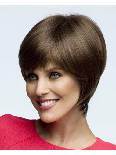 Short Discount Brown Straight Bob High Quality Soft Lace Synthetic Wigs