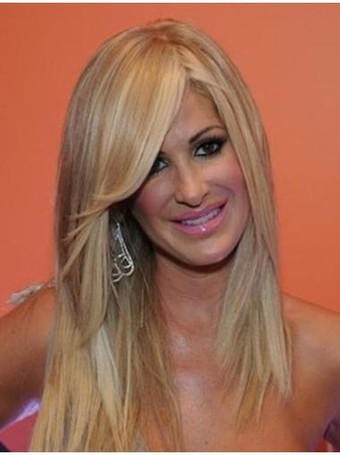 Blonde With Bangs Straight Stylish Human Hair Wigs