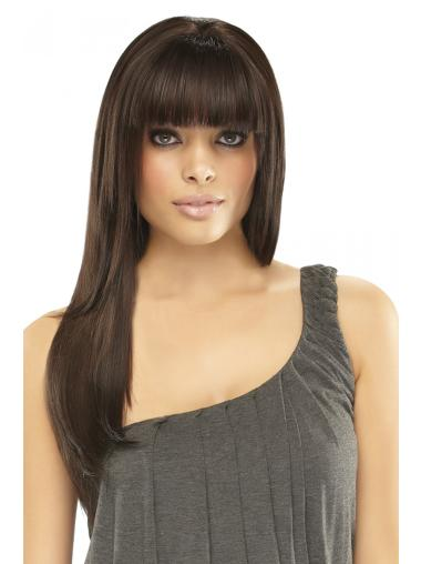 """Remy Human Hair Straight 7.5""""(As Picture) Brown Fringe Topper From"""