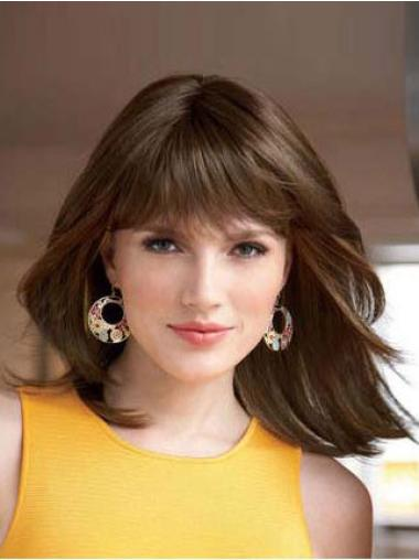 With Bangs Shoulder Length Cheap Synthetic Lace Front Wigs