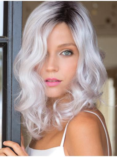 High Quality Shoulder Length Grey Wig With Black Roots