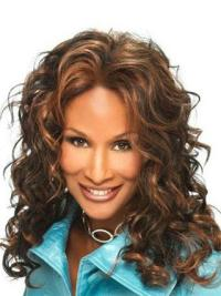 Brown 16 Inches Beverly Johnson Human Hair Curly Wigs