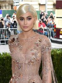 Fashionable Bobs Straight Blonde Chin Length Kylie Jenner Wigs