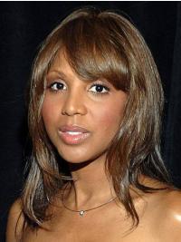"With Bangs 12"" Straight Beautiful Brown Toni Braxton Wigs"