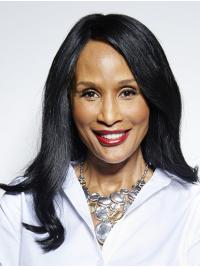 """Straight 16"""" Lace Front Long Without Bangs Black Affordable Beverly Johnson Wigs"""