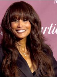 """Wavy 22"""" Capless Long With Bangs Brown Sassy Beverly Johnson Wigs"""
