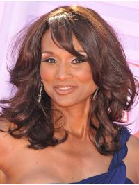 """Curly 14"""" Lace Front Shoulder Length With Bangs Brown Flexibility Beverly Johnson Wigs"""