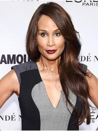 """Wavy 26"""" Lace Front Long Without Bangs Brown Modern Beverly Johnson Wigs"""