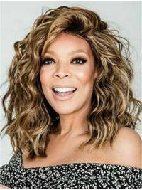 """Curly 14"""" Capless Shoulder Length Bobs Blonde Exquisite Wendy Williams Wigs"""