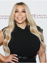 """Wavy 26"""" Lace Front Long Without Bangs Platinum Blonde Incredible Wendy Williams Wigs"""