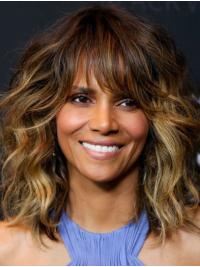 """Synthetic Capless Shoulder Length With Bangs Great 14"""" Halle Berry Wigs"""