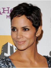 "Remy Human Hair Full Lace Cropped Boycuts Soft 6"" Halle Berry Wigs"