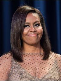 """Remy Human Hair Full Lace Shoulder Length Without Bangs Exquisite 14"""" Michelle Obama Wigs"""
