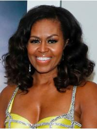 """Synthetic Lace Front Shoulder Length Without Bangs No-Fuss 14"""" Michelle Obama Wigs"""