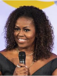 """Synthetic Lace Front Shoulder Length Without Bangs Stylish 14"""" Michelle Obama Wigs"""