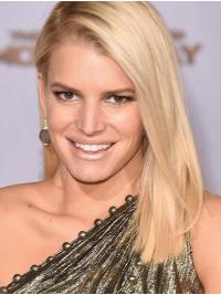 """Durable 16"""" Straight Long Platinum Blonde Without Bangs Jessica Simpson Wigs"""