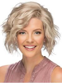 This wig is a short, angled cut bob with long side swept bangs.